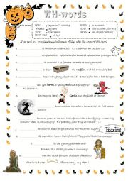 Halloween Question words activity WH-words