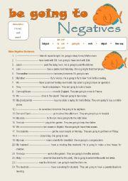 English Worksheet: be going to negative sentences
