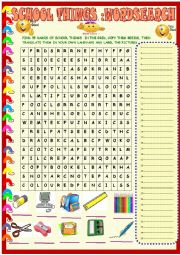 English Worksheet: School things: wordsearch with key