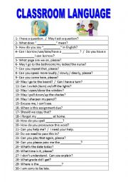 English Worksheet: CLASSROOM LANGUAGE FOR STUDENTS