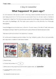 English Worksheet: What happened 14 years ago? 09/11