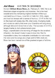 English Worksheet: Axl Rose and Guns n Roses - English with music ROCK