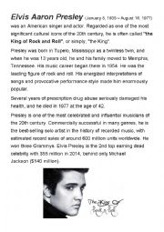 English Worksheet: Elvis Presley - English with music ROCK