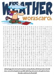 English Worksheet: Wordsearch Series 4- Weather Wordsearch and Other Vocabulary Exercises