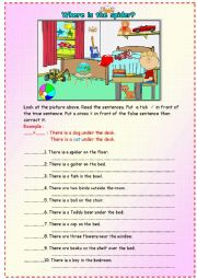 English Worksheet: There is/There are..... in/on/under .....