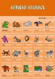 English Worksheet: AFRICAN ANIMALS