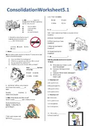 English Worksheet: Daily Routines Test