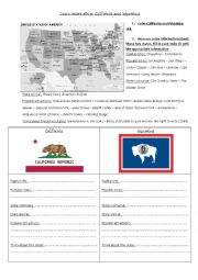 English Worksheet: Learn more about Wyoming and California