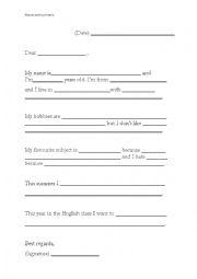 English Worksheet: A letter to the teacher. Presentation.