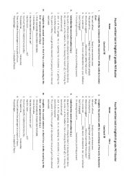 English Worksheet: test for A2 level