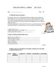 English Worksheet: english exam 2nd grade