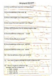 English Worksheet: Ancient Egypt - a 6 min film with tasts to do