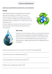 English Worksheet: RECYCLING/ WATER SHORTAGE:Readind comprehension and vocabulary activities