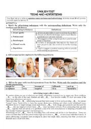 English Worksheet: TEST- TEENS AND ADVERTISING