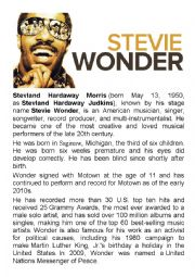 English Worksheet: Stevie Wonder - English with Music RnB