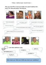 English Worksheet: New school year resolutions video worksheet