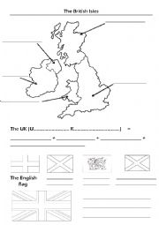 English Worksheet: Map of the British Isles and flags
