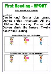 English Worksheet: First Reading - Sport