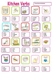 KITCHEN VERBS MULTIPLE CHOICE