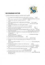 English worksheet: CAE Advanced grammar auction