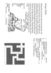 English Worksheet: Hungry Birds Story and Crossword