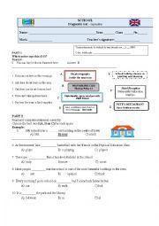 English worksheet: KET - exam /diagnostic test 8th grade