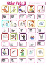 KITCHEN VERBS MULTIPLE CHOICE 2