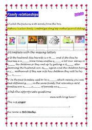 English Worksheet: Family relationships