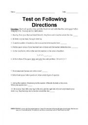 English Worksheet: Following Directions Test