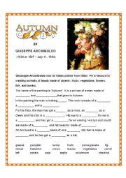 English Worksheet: Autumn by Giuseppe Arcimboldo