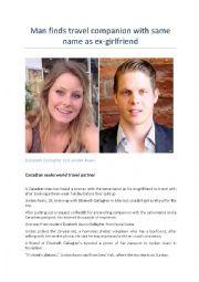 English Worksheet: BBC News: Man takes mystery woman around the world
