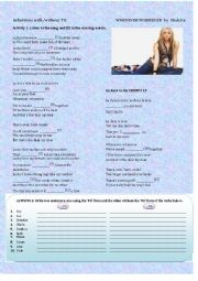 English Worksheet: Whenever, Wherever by Shakira