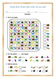 English Worksheet: Brown Bear Brown Bear what do you see?