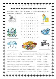 English Worksheet: How much do you know about water?