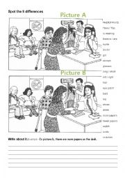 English Worksheet: #1 Spot the differences and write