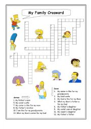 English Worksheet: My family Crossword