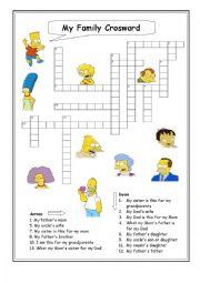 English Worksheet: My family Crossword