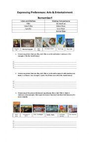 English Worksheet: Expressing Preferences, Likes, dislikes