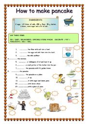 English Worksheet: pancake recipe/ how to make a pancake