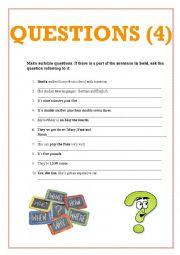 English Worksheet: Make questions 3