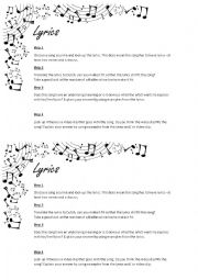 English Worksheet: Lyrics