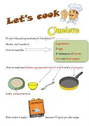 English Worksheet: Let�s cook omelette