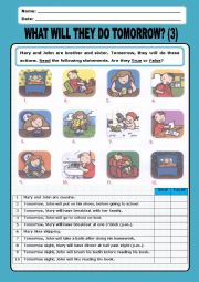 English Worksheet: Simple Future:what will they do tomorrow_3
