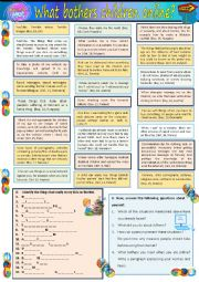 English Worksheet: What bothers children online?