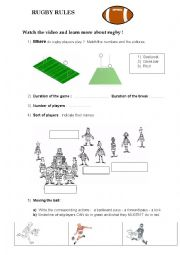 English Worksheet: Rugby rules