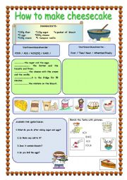 English Worksheet: HOW TO MAKE  CHEESECAKE/ Recipe