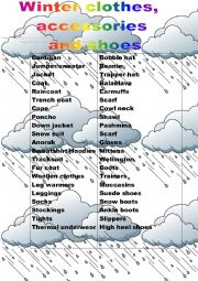English Worksheet: winter clothes accessories and shoes