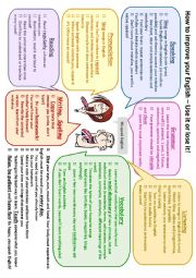 English Worksheet: How to improve your English - practical tips poster