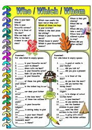English Worksheet: Who / Which / Whom