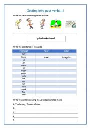 English worksheet: Getting into past verbs with Keane-Somewhere only we know
